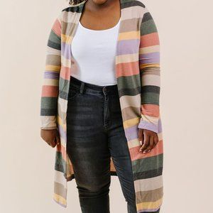 White Birch Multicolor Striped Sleeved Cardigan